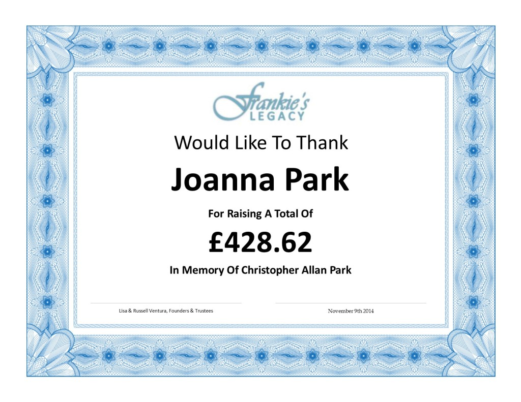 Certificate For Joanna Park